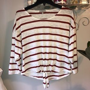 Charlotte Russe White & Red Striped Top w/ Knot